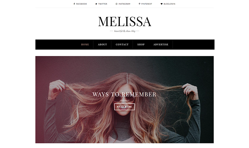 Melissa Personal Blogger Template 2018