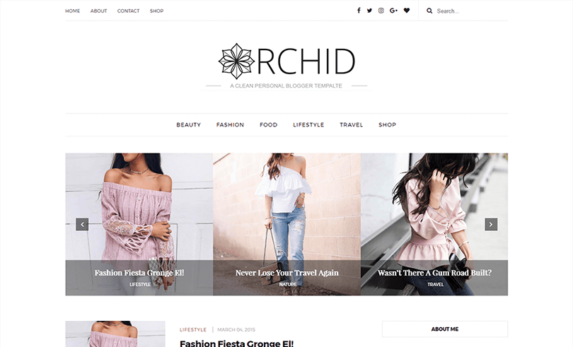 Orchid A Clean Responsive Personal Blogger Template